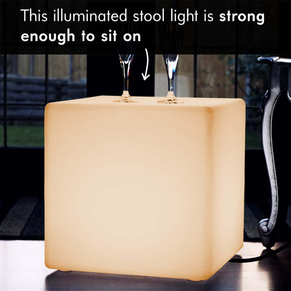 LED Cube Light Stool Seat, 40cm Modern Floor Lamp, Warm White E27 Bulb