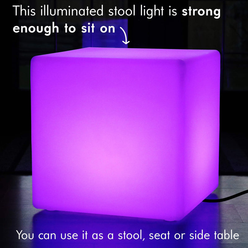 50cm Mood Cube LED Mains Powered Stool - Colour Changing