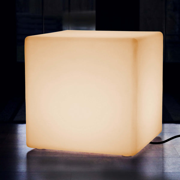 50cm Light Up Cube LED Floor Lamp Mains Powered Warm White