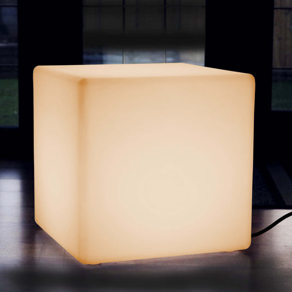 60cm LED Cube Stool Mains Powered Table Light - Warm White