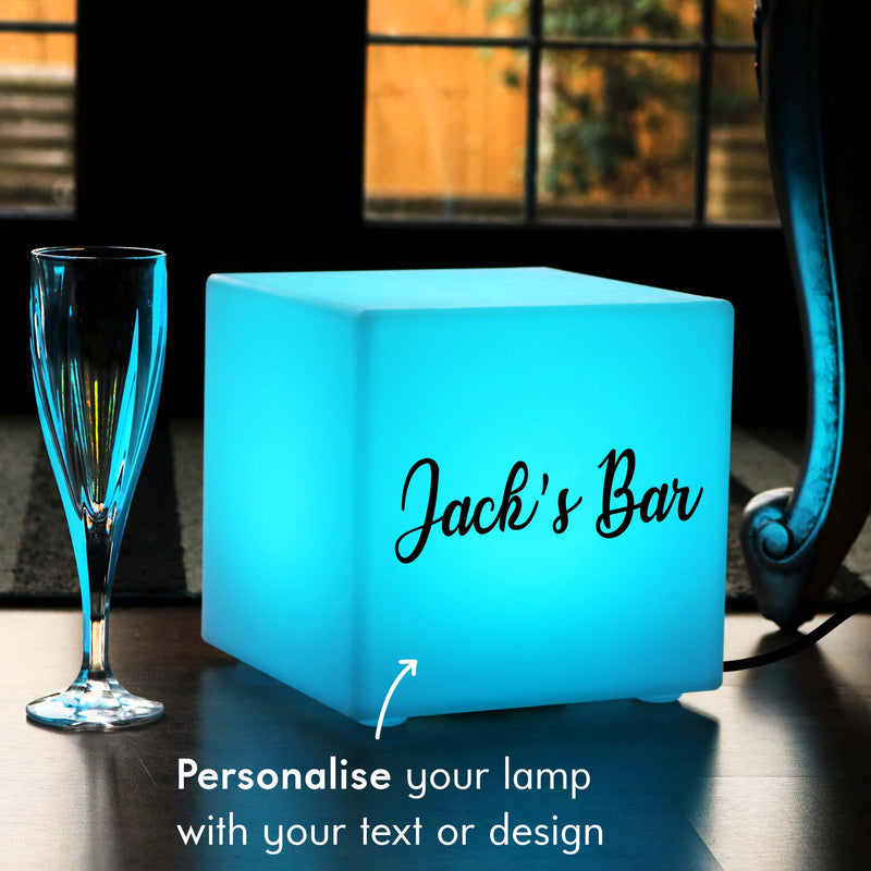 Unique Personalised Gift Light Box, LED Multi Colour Table Lamp for Bar, Cube 20 x 20 cm, Mains Powered