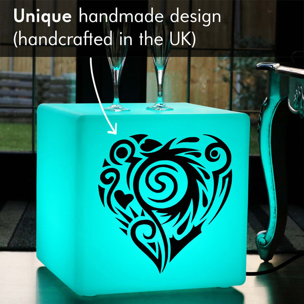 Unique Handcrafted Gift Lightbox, Living Room Colour Change Light Up Stool for Event, Cube , Mains Powered, Love Heart Lamp