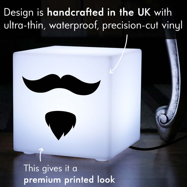 Creative Light Gift for Her, LED Table Lamp Centrepiece for Party, Cube , E27, White, Moustache and Beard Gift Lamp