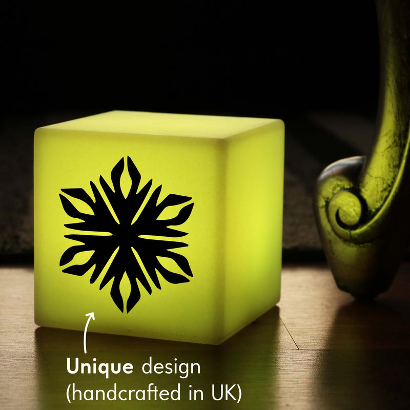 Unique Handcrafted Gift Light, LED Remote Controlled Rechargeable Bedside Lamp for Decoration, Cube , Snowflake Lamp Gift