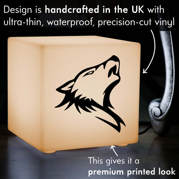 Funky Light, Lounge Table Bedside Lamp for Event, Cube , E27, Warm White, Wolf Head Lamp