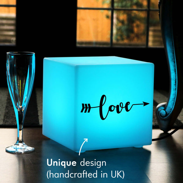 Unique Handcrafted Gift Lamp, Living Room RGB Table Lamp Centrepiece for Decoration, Cube , Mains Powered, Love Arrow Gift Light