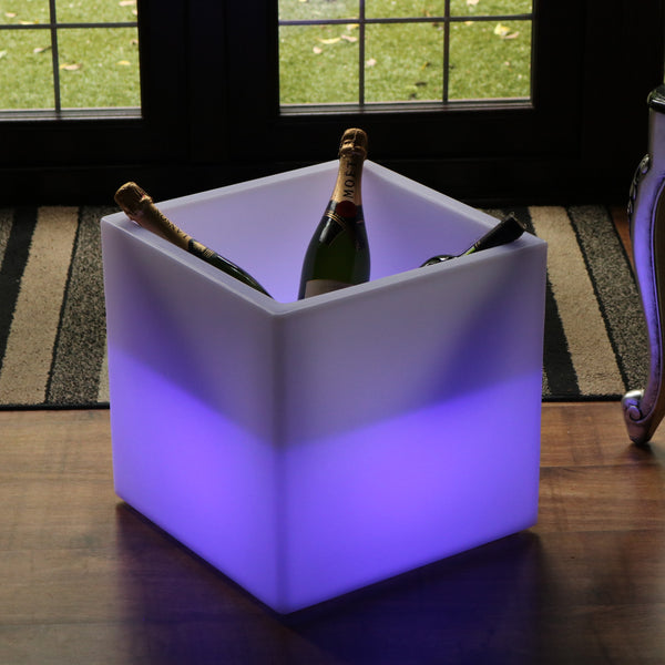 Mains Powered External LED Ice Bucket Champagne Wine Cooler for Garden, Patio, Terrace