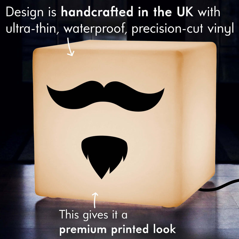 Unique Handcrafted Gift Light Box, Bedroom Illuminated Seat for Nightclub, Cube , E27, Warm White, Moustache and Beard Light Gift