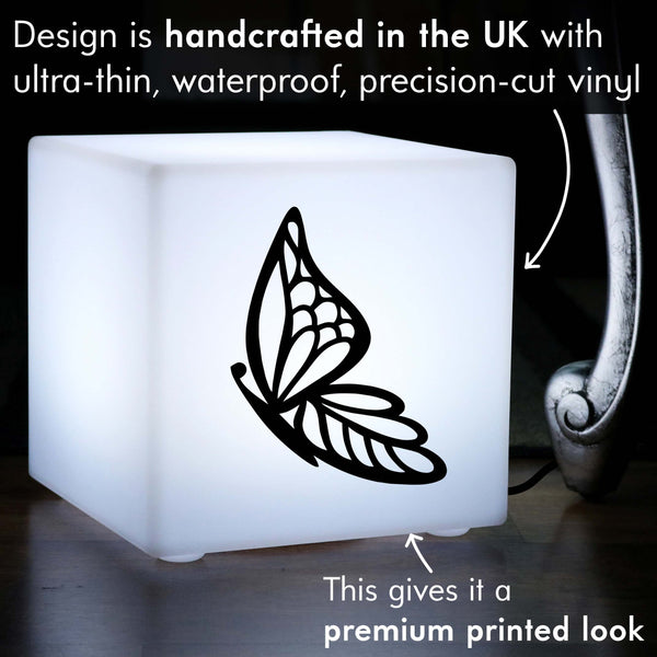 Original Gift Light for Him, Contemporary Table Lamp Centrepiece for Nightclub, Cube , E27, White, Butterfly Light