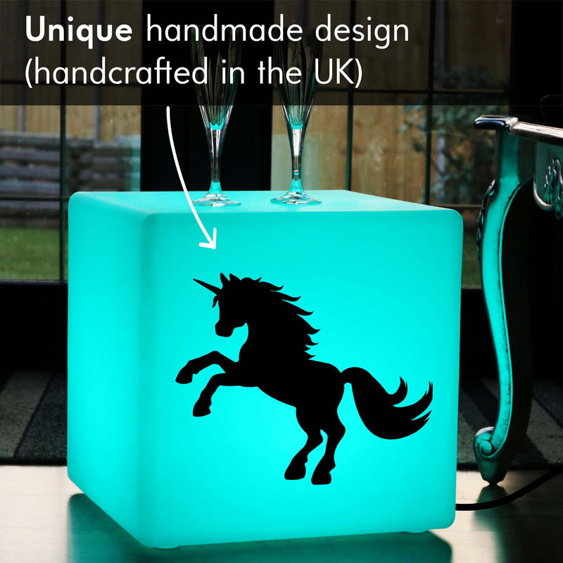 Funky Thoughtful Gift Light, Living Room Multi-Colour Light Up Seat for Night Club, Cube , Mains Powered, Unicorn Light Gift