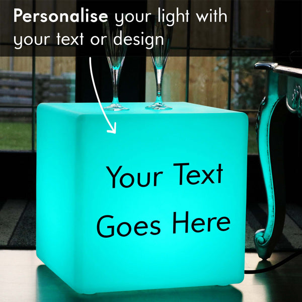 Branded Lightbox, LED RGB Stool Seat for Anniversary, Cube 40 cm, Mains Powered