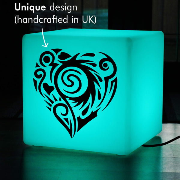 Hand Crafted Lightbox, LED Colour Changing Illuminated Stool for Birthday, Cube , Mains Powered, Heart Light