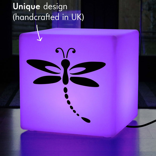 Unique Gift Lamp, Decorative Multi-Colour Stool Seat Side Table for Event, Cube , Mains Powered, Dragonfly Gift Light