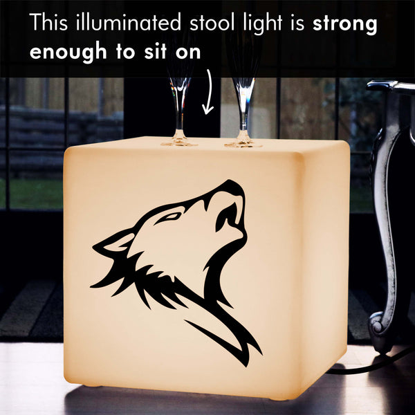 Funky Light, Bedroom Stool Seat Furniture for Wedding, Cube , E27, Warm White, Wolf Light Gift