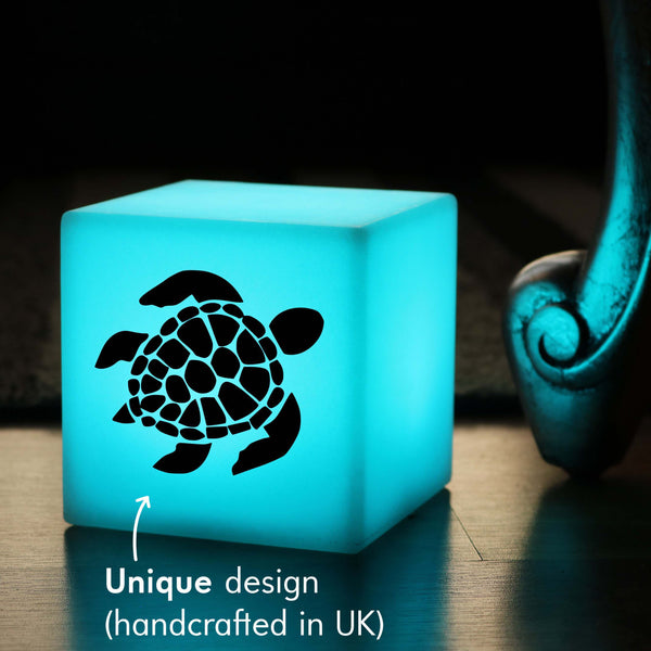 Hand Crafted Lightbox, Lounge Dimmable Rechargeable Night Lamp for Restaurant, Cube , Sea Turtle Lamp