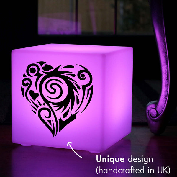 Unique Handmade Light Box, Garden Ambient Wireless Table Lamp Centrepiece for Night Club, Cube , Fancy Heart Gift Light