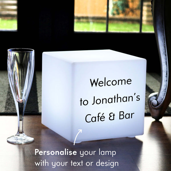 Bespoke Light Box, LED Multi-Colour Rechargeable Table Lamp for Anniversary, Cube 20 cm