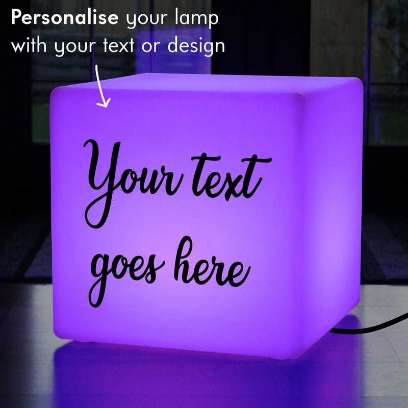 Promotional Customised Gift Lightbox, Decorative Ambient Illuminated Seat for Restaurant, Cube 60 cm, Mains Powered