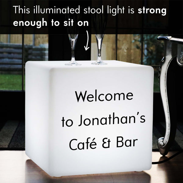 Custom Text Light Box, Lounge LED Seat for Restaurant, Cube 40 cm, E27, White