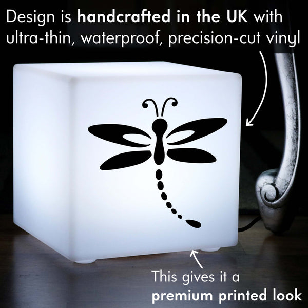 Original Handmade Light Box, LED Table Lamp Centrepiece for Hotel, Cube , E27, White, Dragonfly Gift Lamp