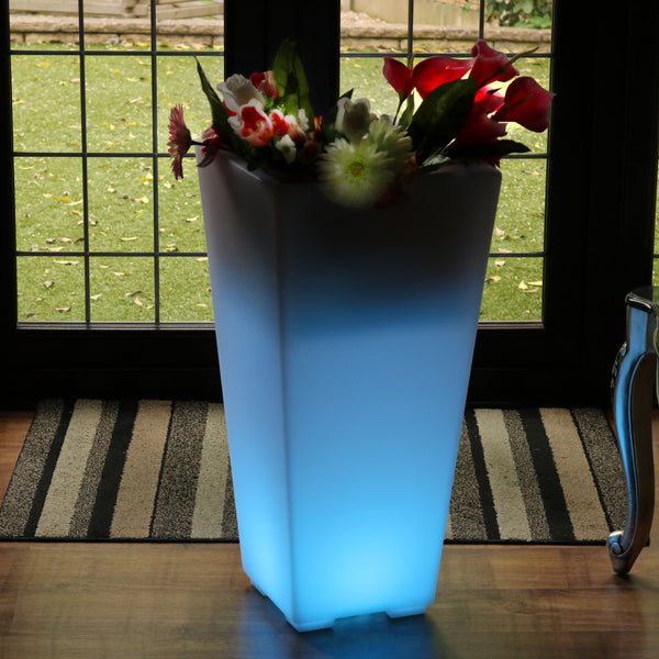 LED Flower Vase Plant Pot, 75cm Tall Large Floor Standing Vase, Outdoor Garden Floor Lamp Light