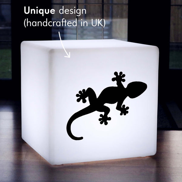 Creative Handmade Thoughtful Gift Light, Garden RGB Rechargeable Light Up Seat for Hotel, Cube , Gecko Lamp