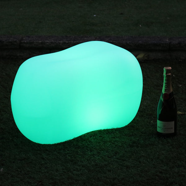 LED Pebble Stone Outdoor Garden Light, Cordless Decorative Multi Colour Table Patio Lighting