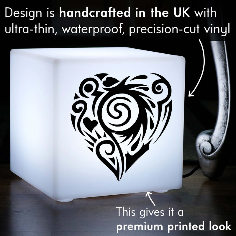 Original Light Gift for Him, LED Table Lamp Centrepiece for Birthday, Cube , E27, White, Heart Lamp Gift