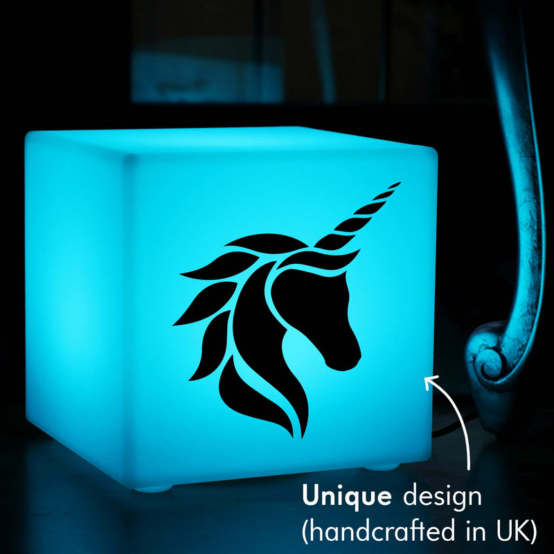 Unique Handcrafted Gift Lightbox, LED Multicolour Table Lamp Centrepiece for Party, Cube , Mains Powered, Unicorn Head Lamp Gift