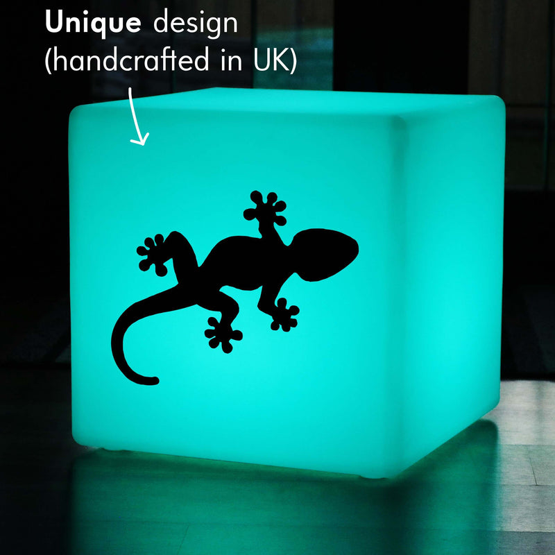 Unique Handcrafted Gift Light for Him, LED Remote Controlled Rechargeable LED Seat for Night Club, Cube , Gecko Gift Light