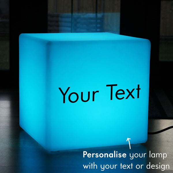 Custom Text Lightbox, LED Multicolour Floor Lamp Stool for Birthday, Cube 50 x 50 cm, Mains Powered