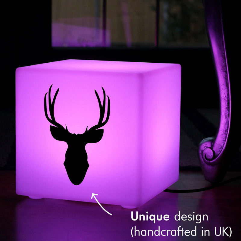 Original Handmade Gift Lamp, Decorative Dimmable Table Lamp Centrepiece for Restaurant, Cube , Mains Powered, Deer Head Lamp Gift