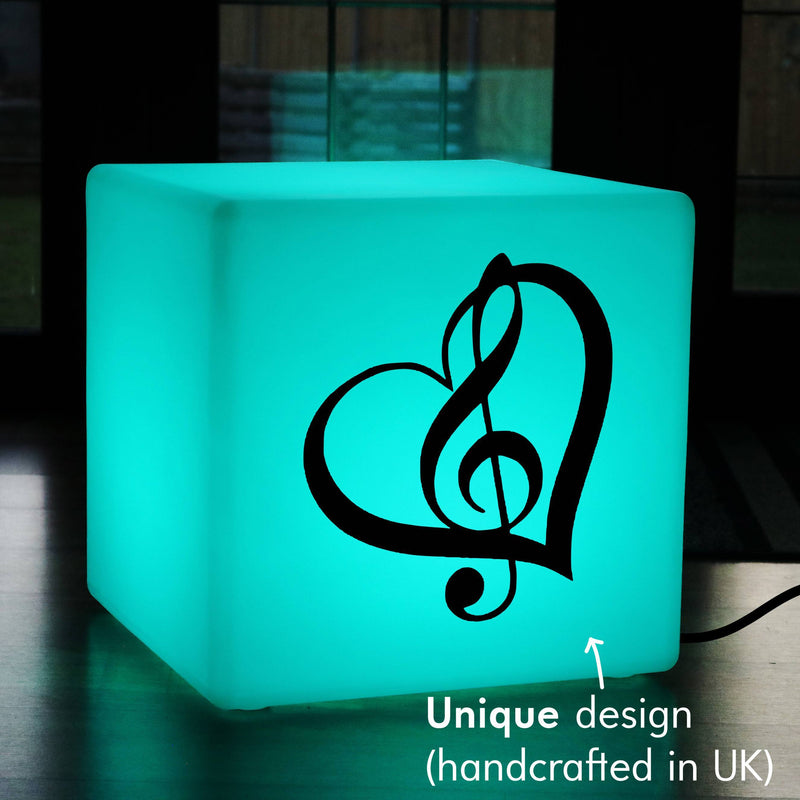 Creative Gift Light for Him, Bedroom Dimmable Illuminated Seat for Hotel, Cube , Mains Powered, Treble Clef Music Gift Lamp