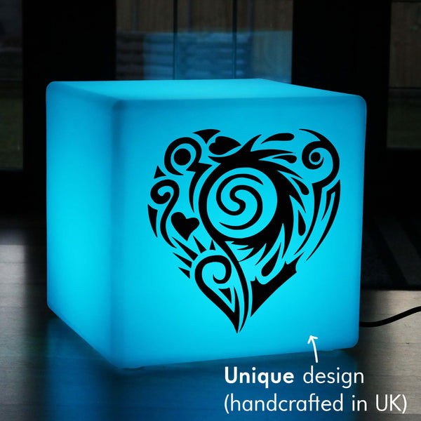 Unique Handcrafted Gift Lamp, Bedroom Colour Change Illuminated Seat for Wedding, Cube , Mains Powered, Heart Light