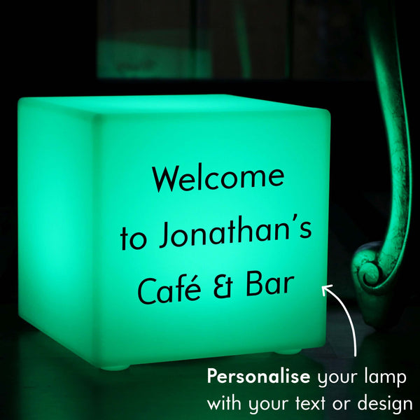 Branded Light Box, Contemporary Dimmable Rechargeable Table Lamp Centrepiece for Bar, Cube 30 x 30 cm