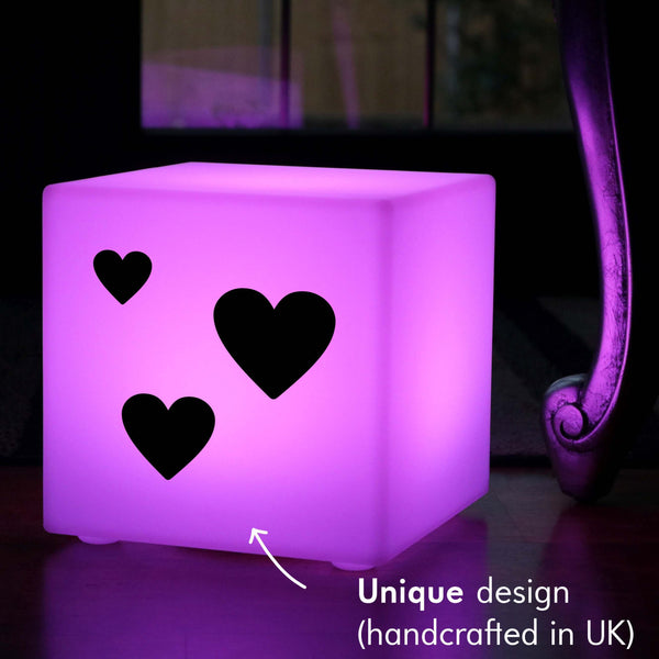 Unique Handmade Gift Lightbox, Waterproof RGB Cordless Table Lamp for Decoration, Cube , Love Hearts Valentine's Gift Gift Lamp