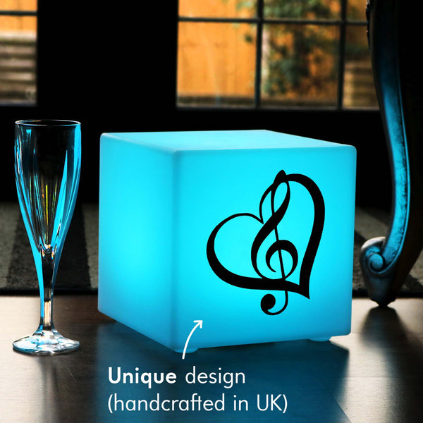 Unique Light Box, Lounge Remote Controlled Cordless Table Lamp Centrepiece for Anniversary, Cube , Treble Clef Music Gift Light