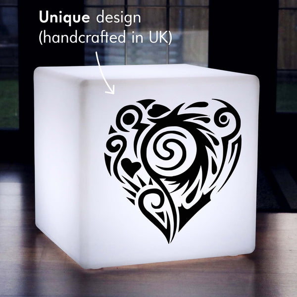 Hand Made Light Gift for Her, Living Room Remote Controlled Rechargeable Floor Lamp Stool for Party, Cube , Creative Heart Light