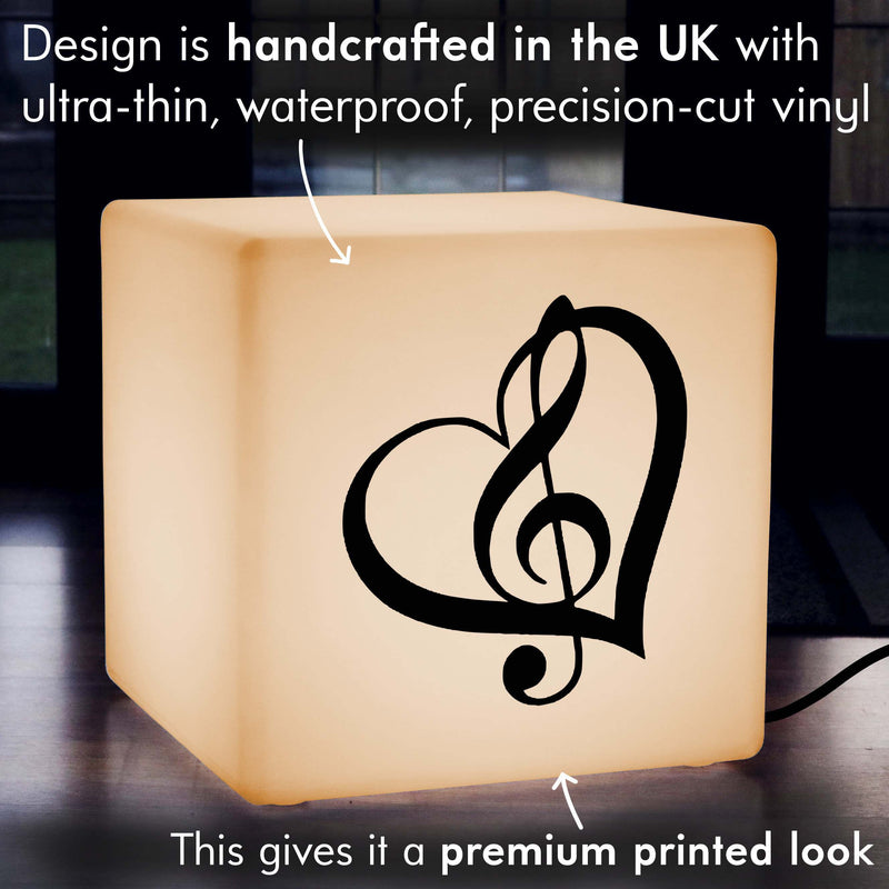 Original Handmade Light Box, Modern Light Up Seat for Nightclub, Cube , E27, Warm White, Treble Clef Music Lamp Gift