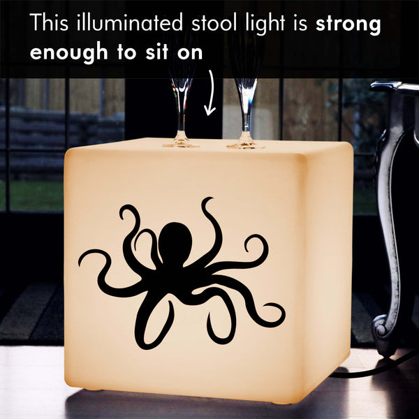 Funky Lightbox, LED Stool Seat Side Table for Hotel, Cube , E27, Warm White, Octopus Lamp Gift