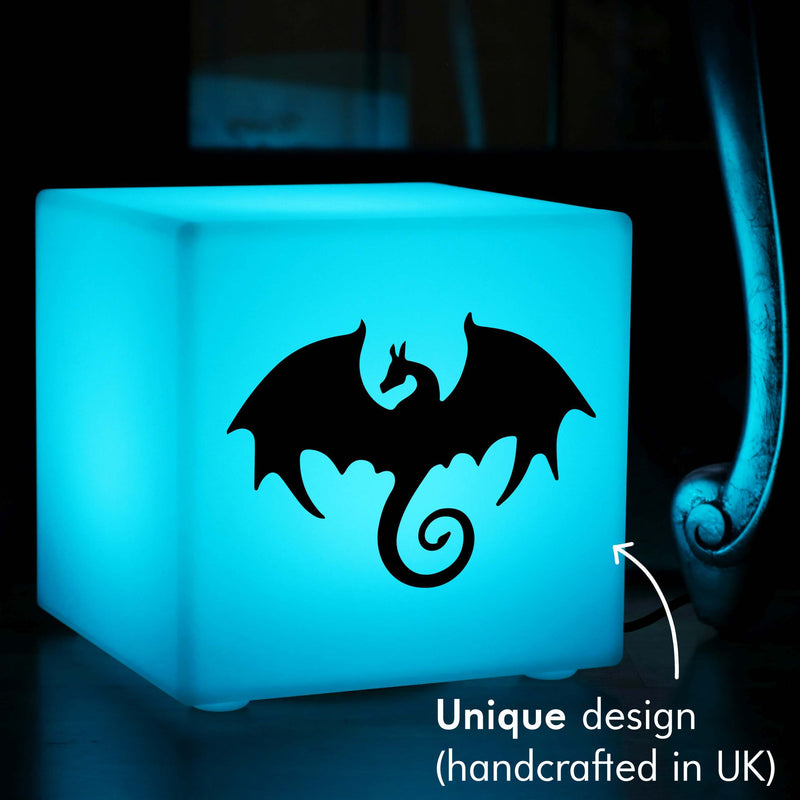 Unique Handmade Thoughtful Gift Light, Modern Dimmable Table Lamp Centrepiece for Party, Cube , Mains Powered, Dragon Gift Light