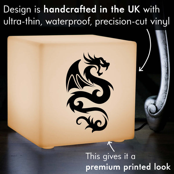 Quirky Light Gift for Him, LED Table Lamp for Decoration, Cube , E27, Warm White, Chinese Dragon Light