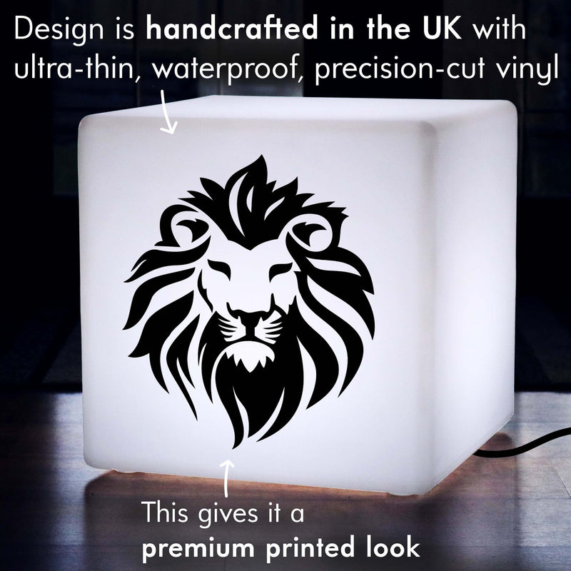 Hand Made Lightbox, LED Stool Seat Side Table for Party, Cube , E27, White, Lion Lamp Gift