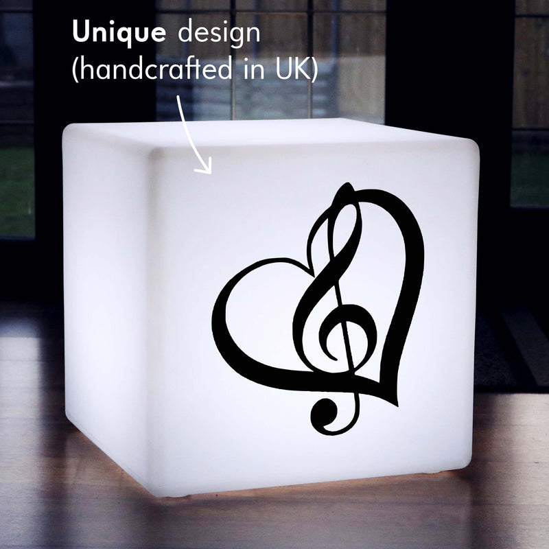 Original Handmade Light, Lounge Multicolour Wireless LED Stool Seat for Event, Cube , Treble Clef Music Light