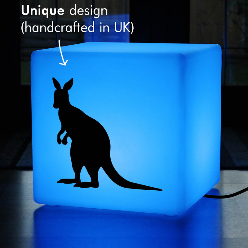 Unique Handcrafted Gift Light, LED Dimmable Illuminated Stool for Bar, Cube , Mains Powered, Kangaroo Light Gift