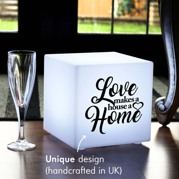 Creative Light Gift for Her, Living Room Dimmable Wireless Table Lamp for Anniversary, Cube , Love Makes a House a Home Light