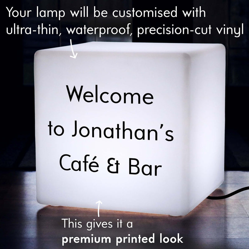 Custom Sign Gift Light Box, Bedroom Illuminated Seat for Decoration, Cube 50 x 50 cm, E27, White