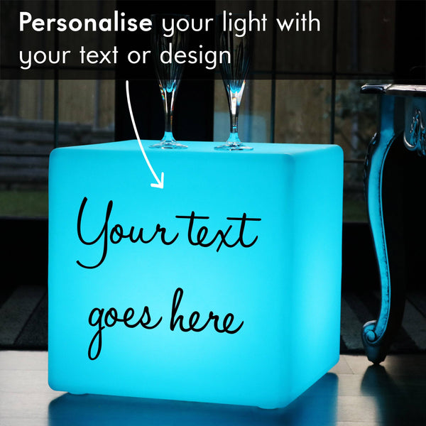 Custom Gift Light Box, Living Room Multi-Colour Cordless Stool Seat Side Table for Decoration, Cube 40cm