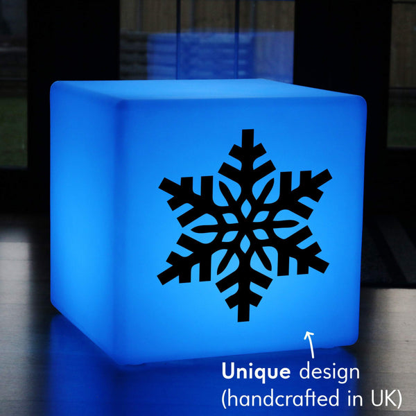 Quirky Gift Light, Modern RGB Cordless LED Stool for Bar, Cube , Snowflake Christmas Light Gift