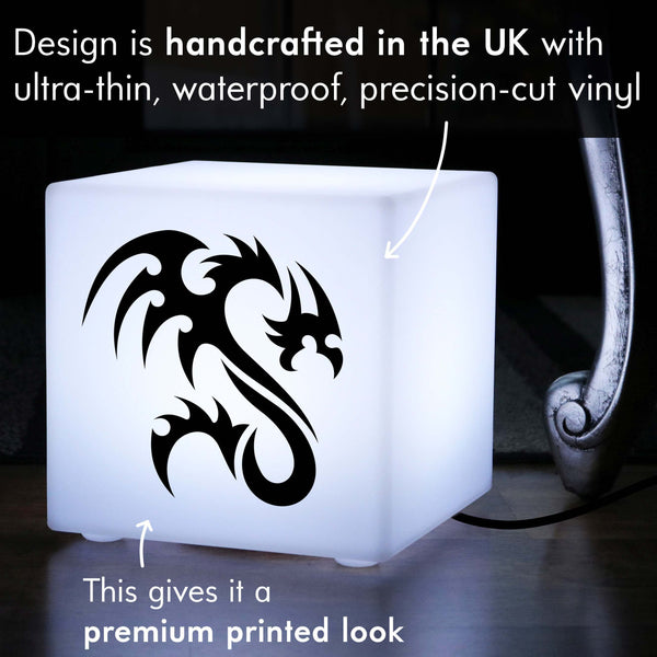 Creative Handmade Gift Lightbox, Decorative Table Lamp Centrepiece for Hotel, Cube , E27, White, Tribal Dragon Light Gift